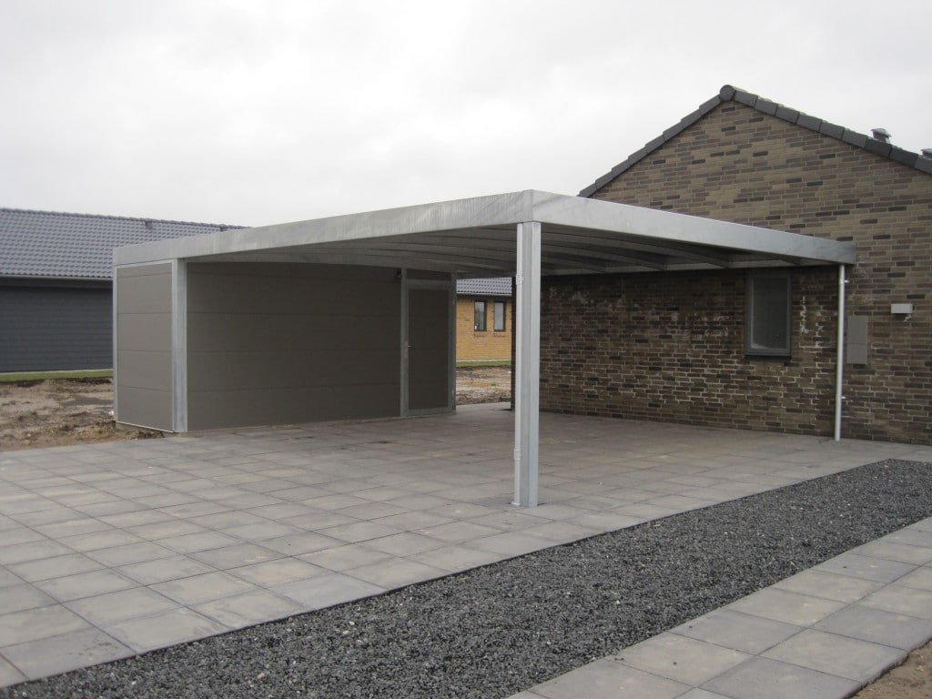 Galerie Stahlcarports Kubus mit Kammer